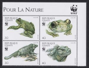 Haiti WWF Iguana Tree-frog Top Right Corner Block of 4v with WWF Logo