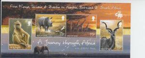 2013 Isle of Man African Wildlife Ptgs SS (Scott 1602) MNH