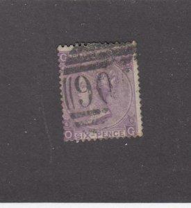GREAT BRITAIN (MK3875) # 50 F-USED 6d QUEEN VICTORIA / #90 CANCEL/ PL #6 CAT $93
