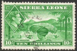 SIERRA LEONE-1938 10/- Emerald-Green Sg 199 FINE USED V42865