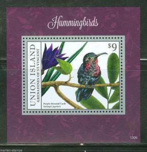 UNION  ISLAND 2013 HUMMINGBIRDS  SOUVENIR SHEET I MINT NH