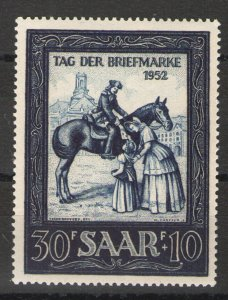 Germany - Saar 1952 Sc# B91 MLH VG/F - Nice example Stamp Day 1952