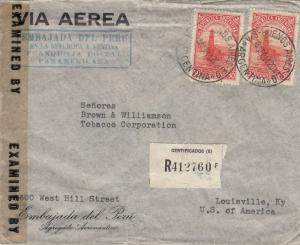 Registered Cover from Peruvian Embassy in Argentina to USA 1944 Censored