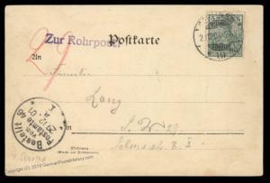 German 1901 Empire Berlin Zur Rohrpost Pneumatic Mail Cover 90489