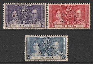 ST. LUCIA : 1937 KGVI Coronation set 1d-2½ perf SPECIMEN. MNH **.