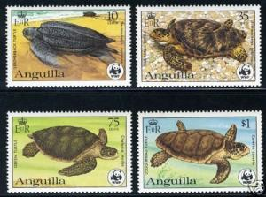WWF ANGUILLA MARINE TURTLES MNH SET OF FOUR STAMPS
