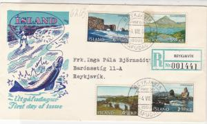 Iceland 1966 Reykjavik Cancels Fishing Picture FDC Multiple Stamps Cover Rf26538
