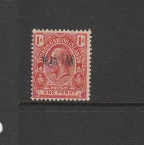 Turks & Caicos Islands 1917 war tax, Double Overprint MM SG 143i