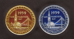 POSTER STAMPS SAN FRANCISCO GOLDEN GATE INTERNATIONAL EXPO 1939 DIE CUT FOIL