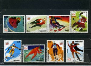 PARAGUAY 1975 WINTER OLYMPIC GAMES INNSBRUCK SET OF 8 STAMPS MNH