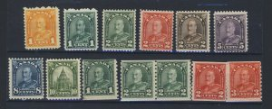 13x Canada Arch Stamps #162 to 166-171-173-179-180-181-183  Guide Value= $195.00