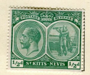 ST. KITTS; 1921-29 early GV portrait issue Mint hinged 1/2d. value