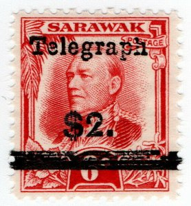 (I.B) Sarawak Telegraphs : Overprint $2 on 6c OP