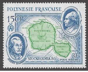 French Polynesia #C219, MNH single, Stockholm '86, Issued 1986