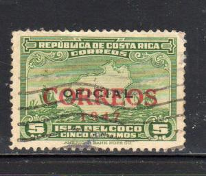 COSTA RICA #247  1947 COCO ISLAND OVERPINT       F-VF USED