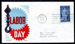 US 1082 Labor Day Cachet Craft Boll Typed FDC