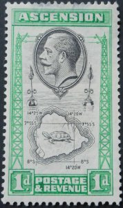 Ascension 1924 GV 1d with Tear Drop flaw SG 22a mint
