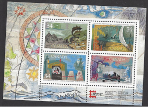 Canada #1107b MNH ss, CAPEX 87, Exploration of Canada, issued 1986