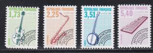 France # 2303-2306, Musical Instrument, Pre Cancels, NH, 1/2 Cat.