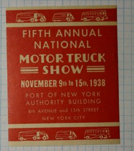 Natl Motor Truck Show 1938 Port of NY Authority Building State Tourism Ad Stamp