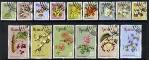Uganda 1969 Flower Definitives complete cto set of 15, SG...