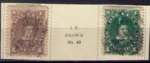 2 Ea Newfoundland Sc 42/44 Gray Brown/Deep Green Used Very Fine