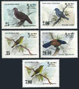 Sri Lanka 691-694,877,MNH.Michel 640-643,840.Birds 1983:Pigeon,Flycatcher,Coucal