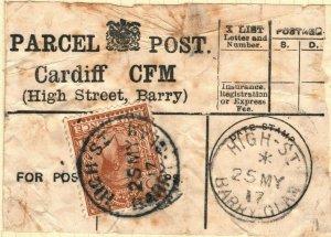 GB WALES PARCEL POST LABEL Cardiff *HIGHT STREET BARRY* CDS 5d 1917 ZA178