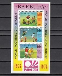 Barbuda, Scott cat 166a. Munich World Cup Soccer s/sheet. Scores in design.