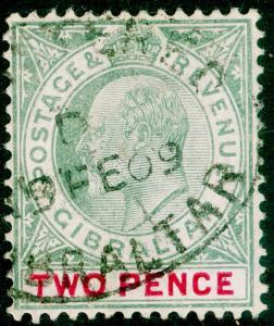 GIBRALTAR SG58a, 2d grey-green & carmine, FINE USED. Cat £14. WMK MULT CA