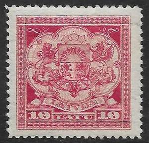 Latvia 1923 MLH Coat of Arms 10L carmine rose