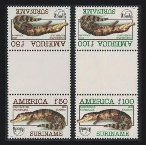 Suriname Cayman America Endangered Animals 2v Gutter Pair SG#1567-1568