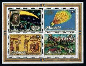 [102279] Aitutaki Cook Islands 1986 Space travel Halley comet Sheet MNH