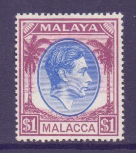 Malaya Malacca Scott 15 - SG15, 1949 George VI $1 MH*