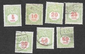 Luxembourg Scott #J10-J14,J16-J17 Postage Due (1921) Used