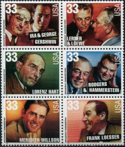 United States 1999. Broadway Songwriters (MNH OG) Block of 6 stamps