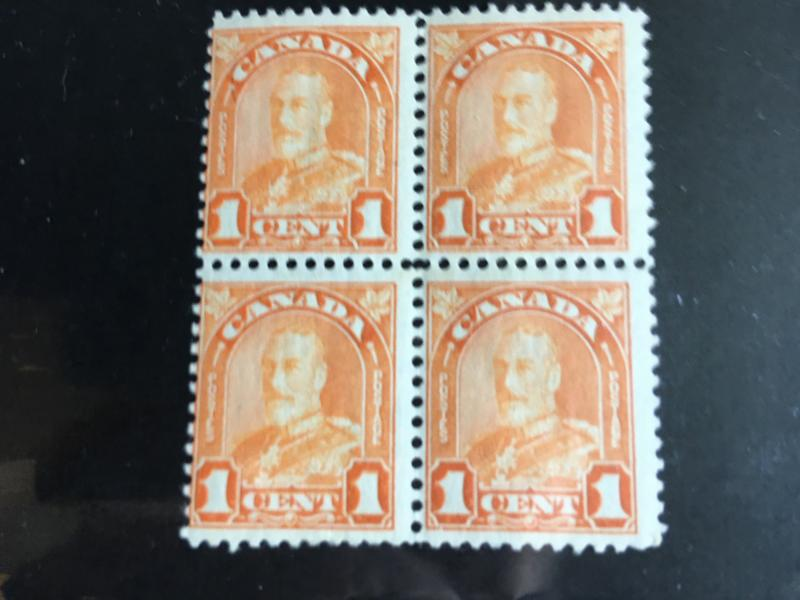 Canada USC #162,162i Block of Four 1c Orange KGV Arch Major Re-entry & Normals