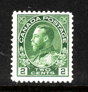 Canada-Sc#107-Unused 2c yellow green Admiral-hinged-1922-