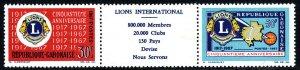 Gabon 209-210a strip/2 with label,MNH.Lions Intl.50th ann.Emblem,Map,Globe,1967