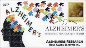 17-418, 2017, Alzheimer's Research, Baltimore MD, Pictorial, FDC, Pictorial Post