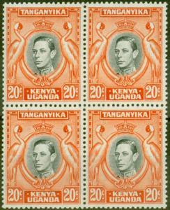 KUT 1942 20c Black & Orange SG139b P.13.25 x 13.75 V.F MNH Block of 4