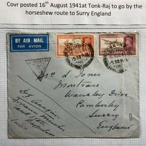 1941 Tonk Raj India Censored Airmail Cover To Surrey England