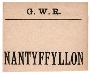 (I.B) Great Western Railway : Parcel Label (Nantyffyllon)