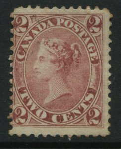 Canada 1864 2 cents rose Victoria mint o.g. gum sweated