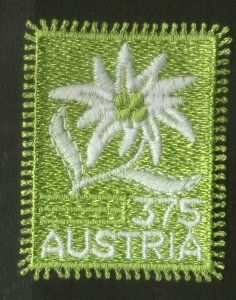 Austria 2005 Edelweiss Flower Sc 2019 Embroidered Odd Shape Exotic Stamp MNH # 6