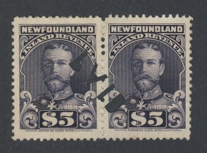 2x Newfoundland Revenue Stamps; Pair of  #NFR21 Perf 11 VF Used Guide = $150.00