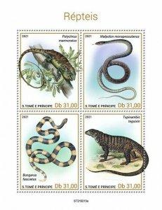 Sao Tome & Principe 2021 MNH Reptiles Stamps Lizards Snakes Bush Anoles 4v M/S