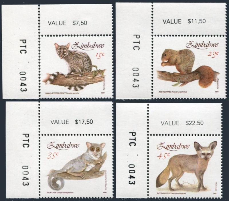 Zimbabwe 632-635,MNH.Michel 450-453. 1991:Genet,Squirrel,Night-ape,Bat-eared Fox