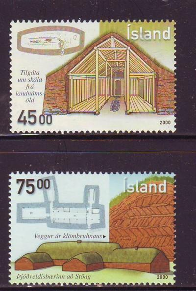 Iceland Sc 922-3 2000 Ancient Architecture stamp set mint NH