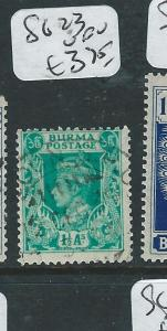 BURMA (P0308B1) ON INDIA KGVI  1 1/2A  SG 23  VFU